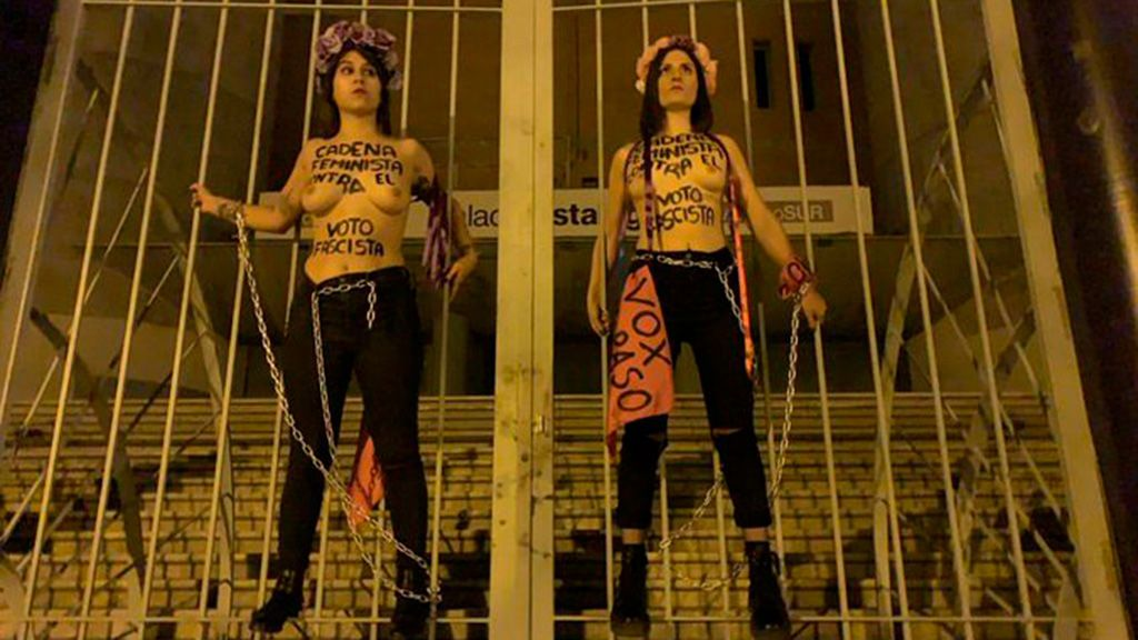 """""""Cadena feminista contra el voto fascista"""": Femen actúa contra Vox"""
