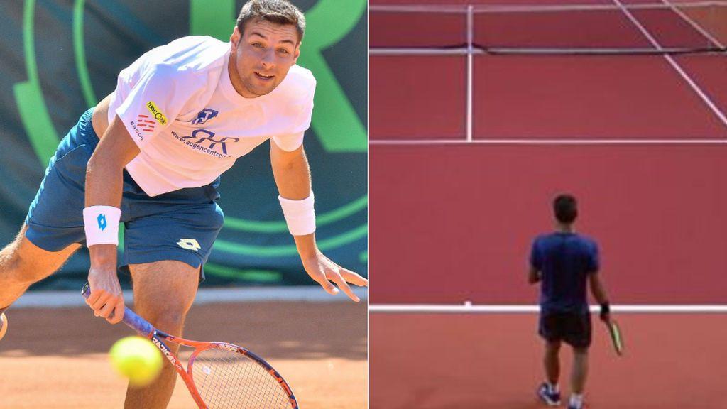 Descalifican al tenista español Bernabé Zapata por tener un agujero en los pantalones