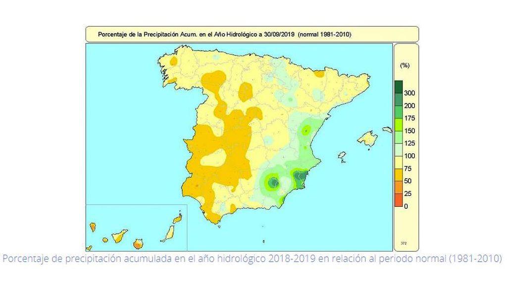Porcentaje de precipitación acumulada en el año hidrológico 2018-19 en relación al periodo 1981-2010