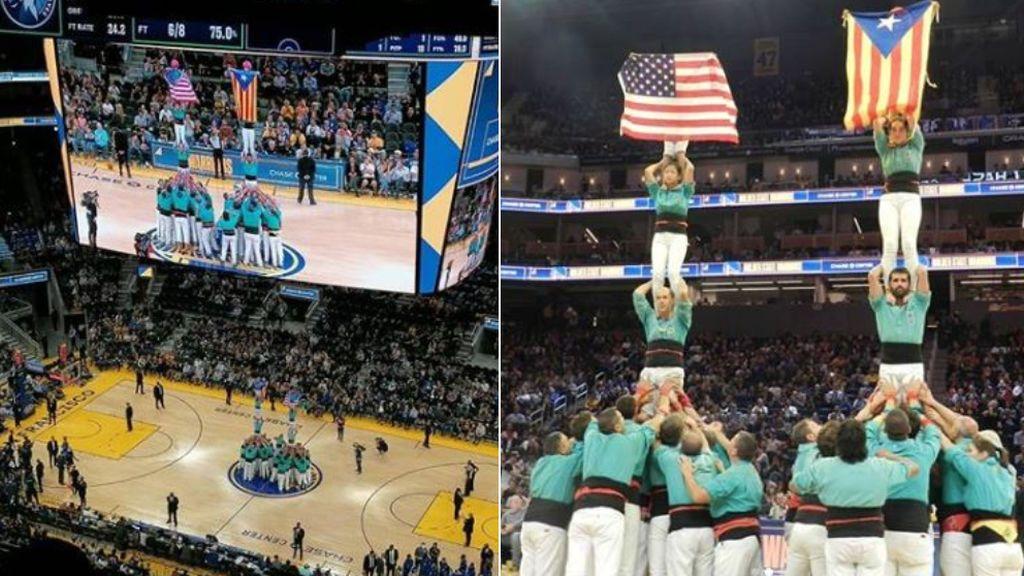 Polémica en la NBA: Invitan a un grupo de 'castellers' al partido de los Warriors y sacan una estelada