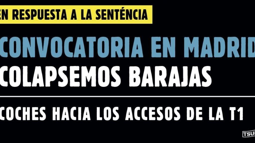 Tsunami Democràtic traslada la tensión a Madrid para saturar Barajas