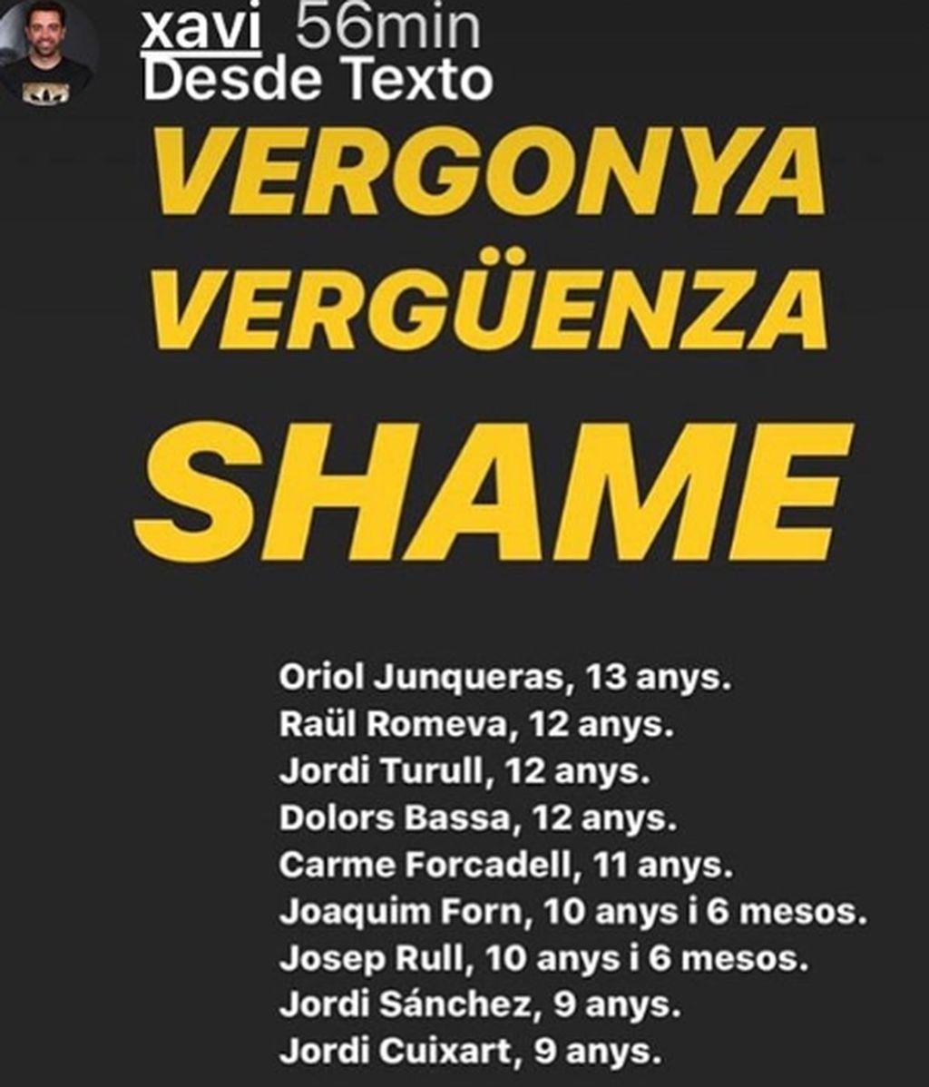 Xavi Hernández habla de vergüenza y Piqué aplaude el apoyo del Barcelona a los condenados