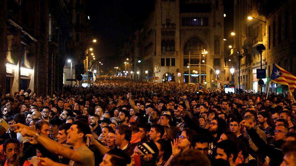 Protestas en la plaza Sant Jaume