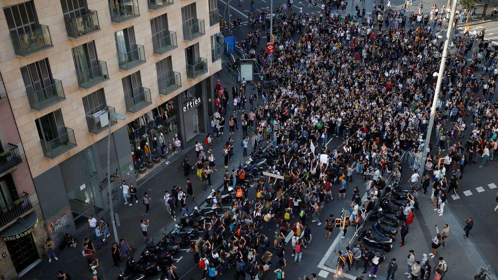 Estudiantes en las calles de Barcelona