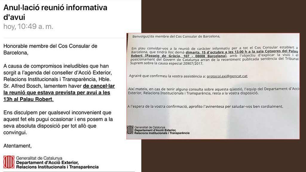 Convocatoria y posterior anulación de la reunión de la Generalitat con los cónsules