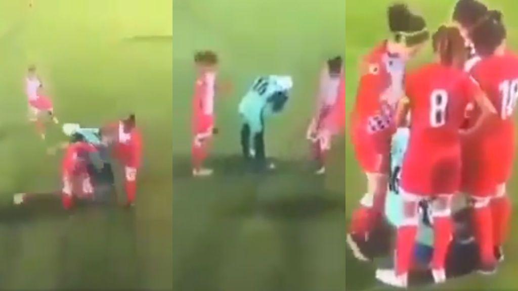 Se le cae el hiyab durante un partido y las jugadoras rivales la cubren para que se lo pueda colocar
