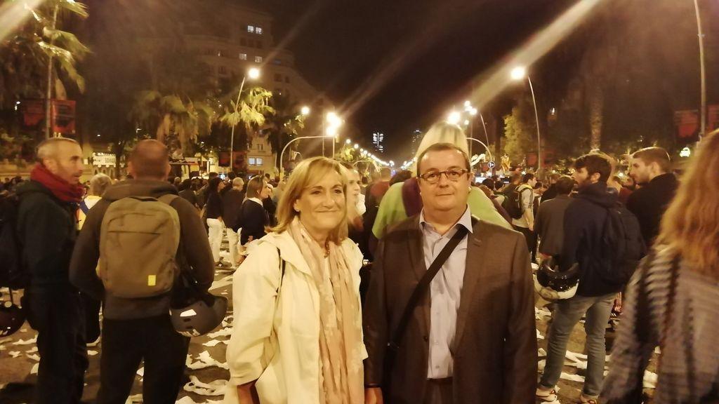 Josep y Maria en la concentración de Barcelona de este miércoles
