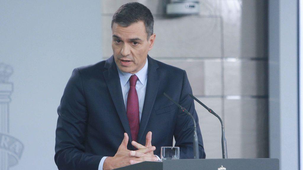 Pedro Sánchez, durante su intervención en Moncloa