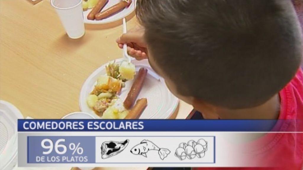 El 96% de los centros escolares no sigue las recomendaciones de las autoridades sanitarias respecto al consumo de carne de los menores