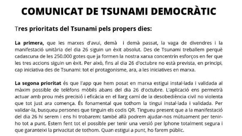 Tsunami Democràtic suspende nuevas movilizaciones hasta el 26 octubre, fecha del Barça-Madrid