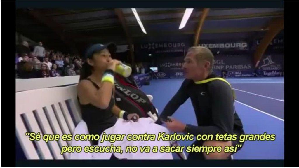 """Un entrenador de tenis motiva a su jugadora con un comentario machista: """"Es como Karlovic con tetas grandes"""""""