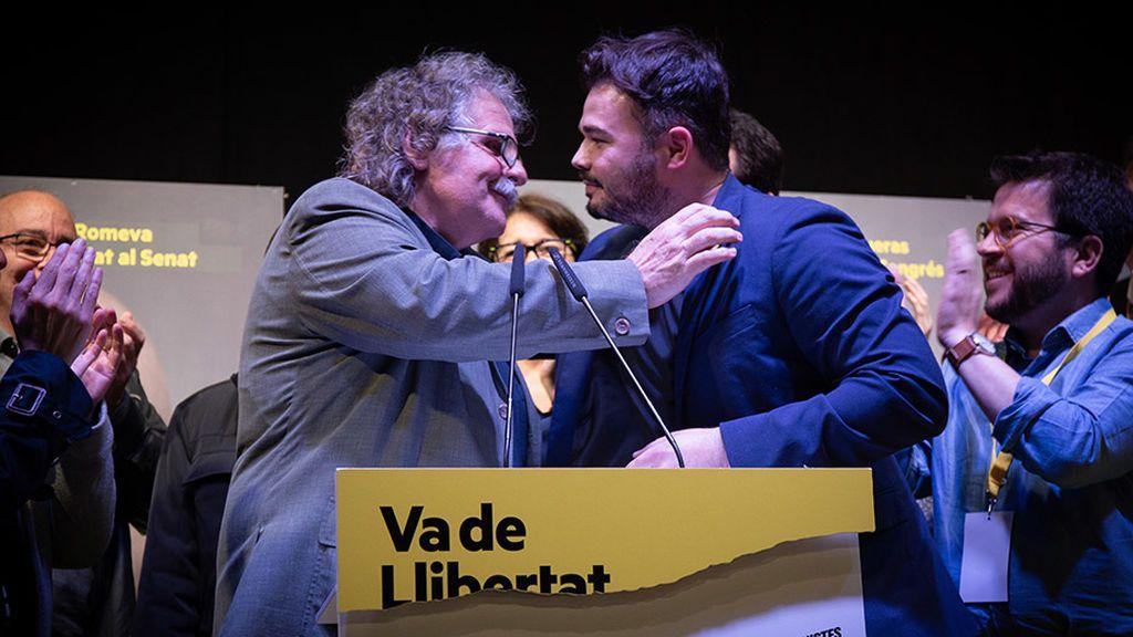 Joan Tardà y Gabriel Rufián durante un acto de ERC
