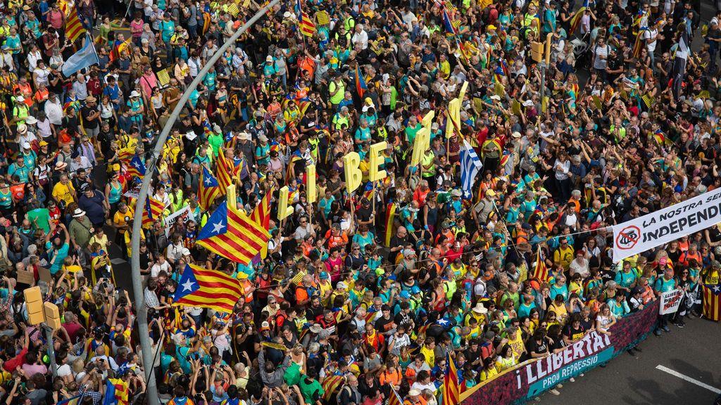 Medio millón de personas en la marcha independentista de Barcelona