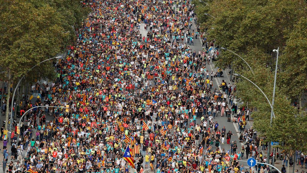Las marchas independentistas toman la Avenida Meridiana