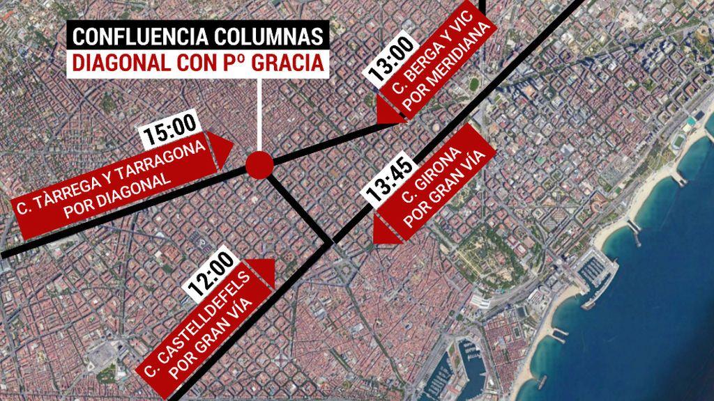 """Seis columnas """"por la libertad"""" llegan hoy a Barcelona por Diagonal, Meridiana y Gran Vía"""