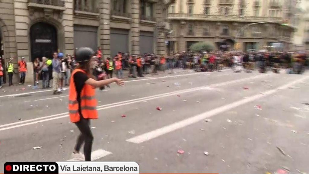 Tensión en la batalla campal de Barcelona