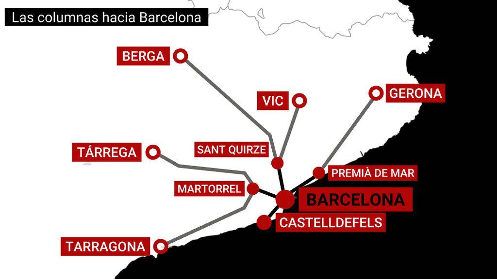 Las columnas se dirigen hacia Barcelona