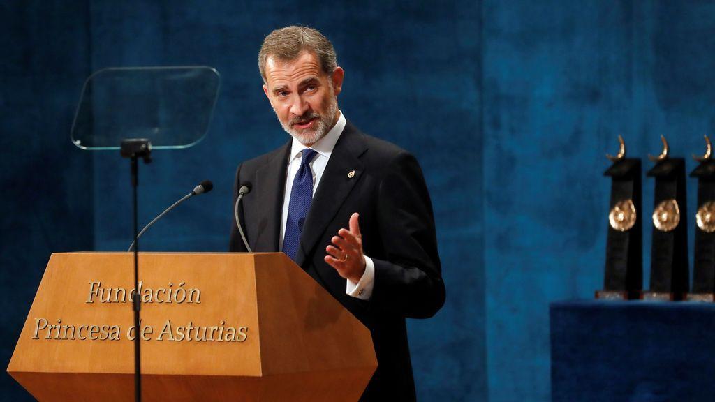 El rey Felipe pronuncia su discurso en la ceremonia de entrega de los Premios Princesa de Asturias 2019