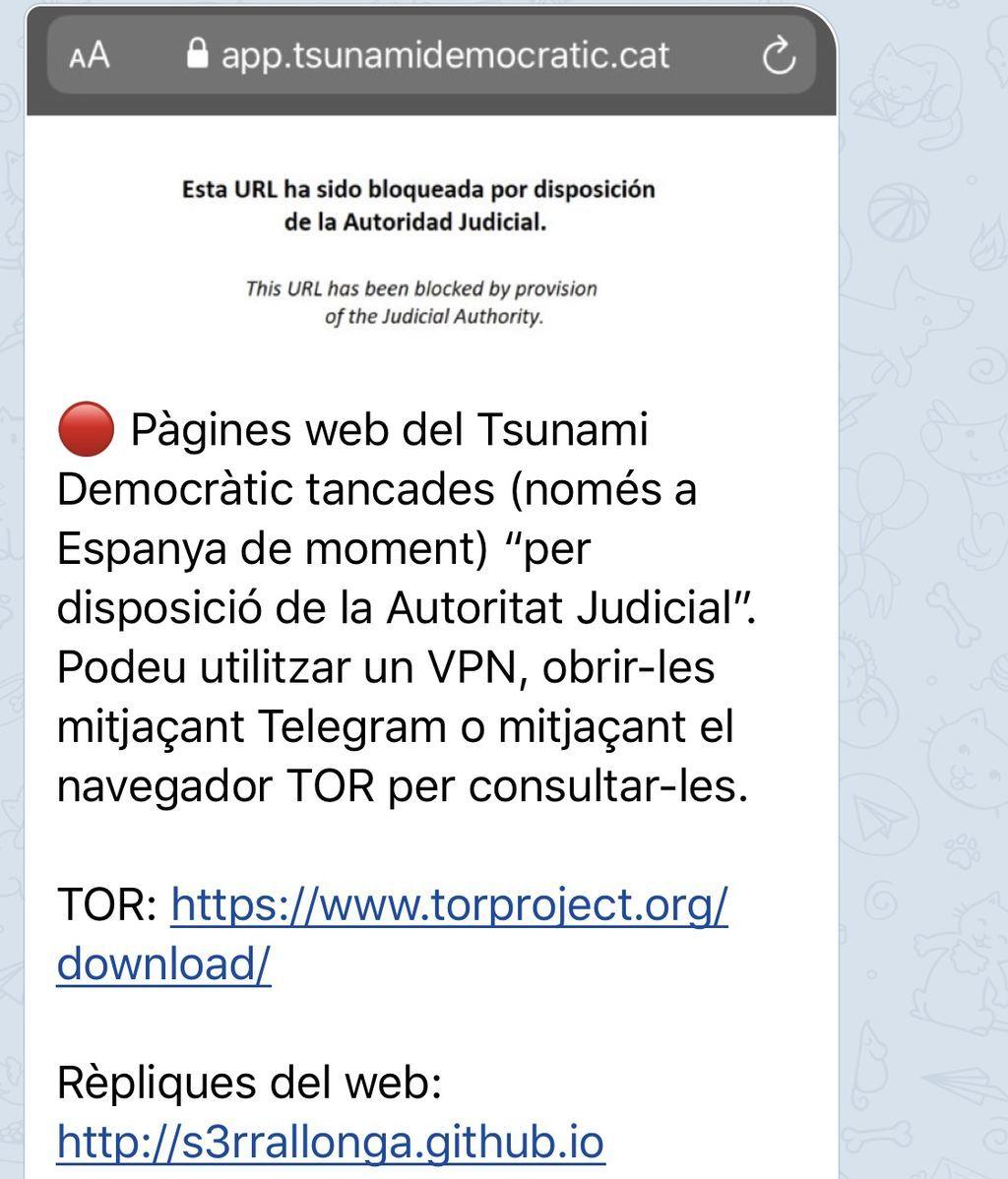 Imagen cierre webs Telegram Anonymous