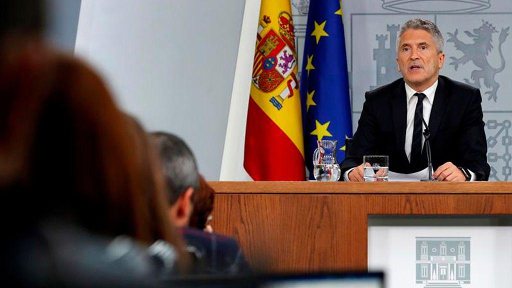 El  ministro del Interior en funciones, Fernando Grande-Marlaska, ha comparecido tras el Consejo de Ministros