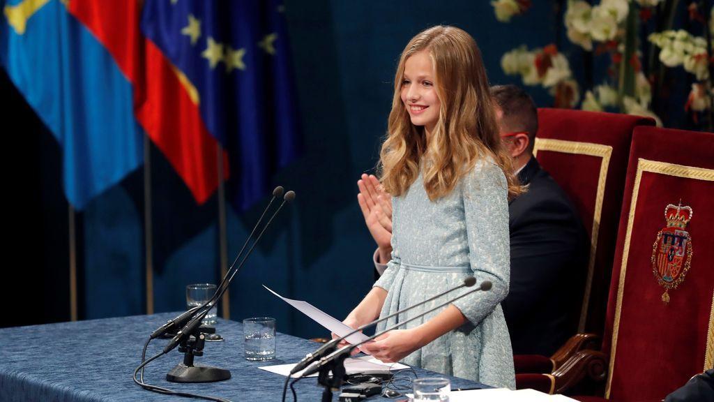 La princesa Leonor pronuncia su discurso durante la ceremonia de entrega de los Premios Princesa de Asturias