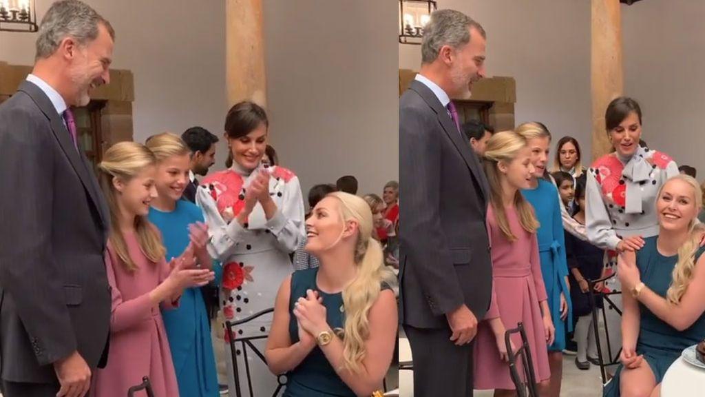 El detalle de Felipe VI, Letizia y las Infantas con  Lindsey Vonn en su 35 cumpleaños: tarta y felicitación en inglés