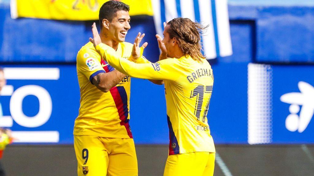 El mejor día del tridente del Barcelona: victoria contundente con goles de Griezmann, Messi y Suárez