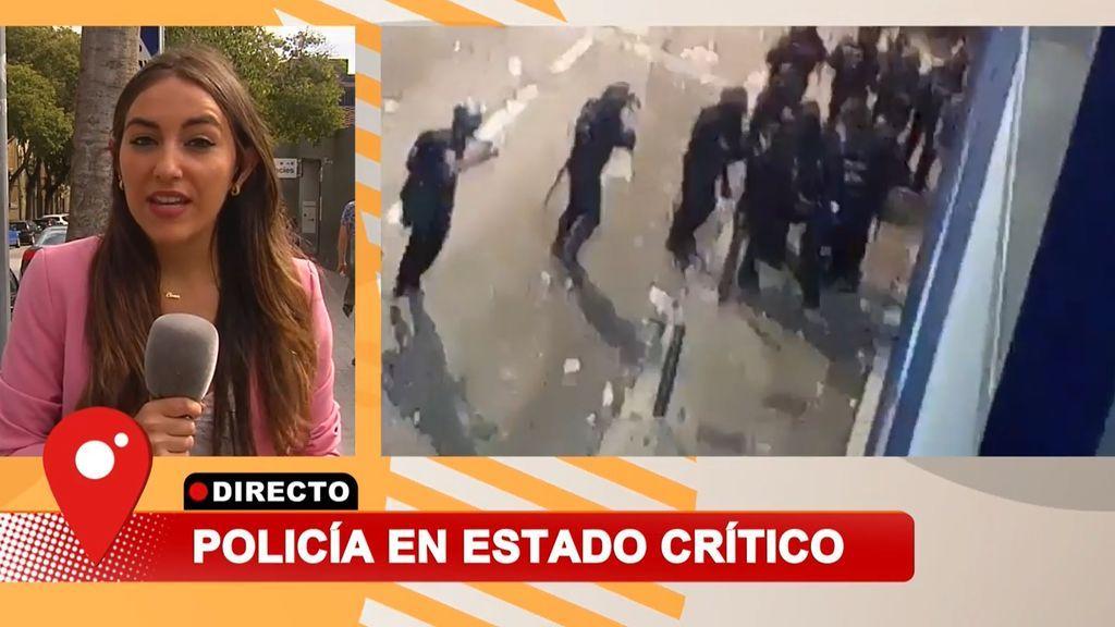 En estado muy grave el policía herido en Barcelona: tiene fractura craneal por el impacto de un bola de acero