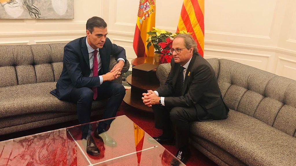 Sánchez y Torra durante su reunión en Pedralbes