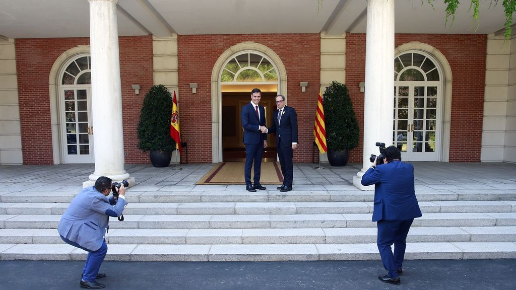 Sánchez y Torra en el Palacio de la Moncloa en julio de 2018