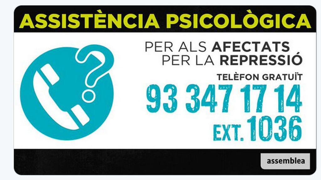 """La Asamblea Nacional Catalana abre un teléfono de asistencia psicológica """"para los afectados por la represión"""""""