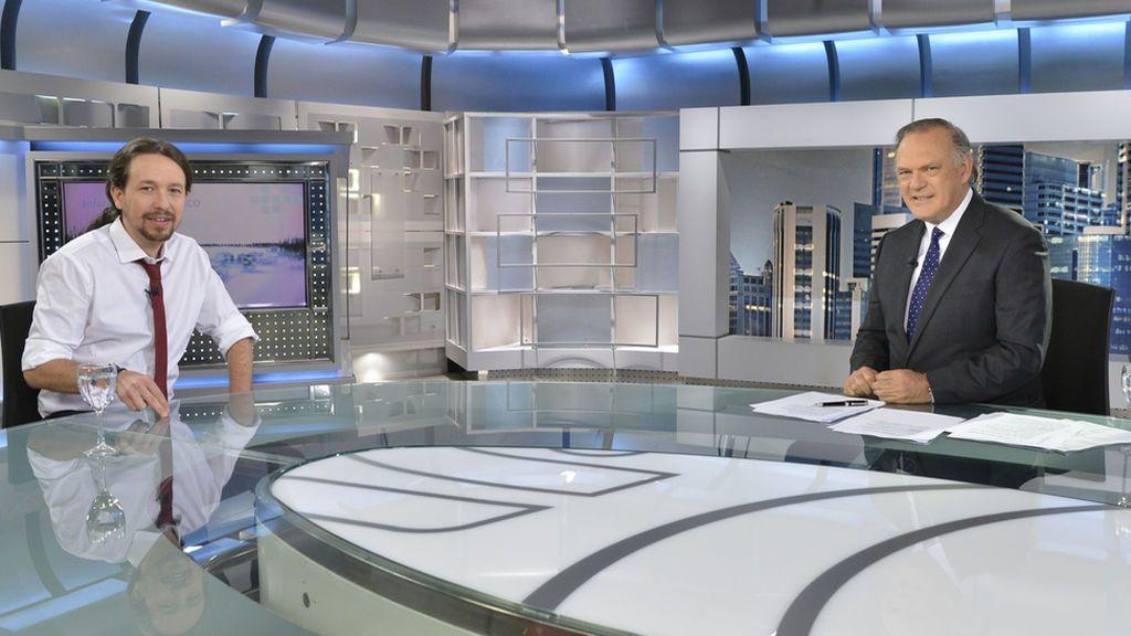 Pedro Piqueras entrevista a Pablo Iglesias esta noche en Informativos Telecinco