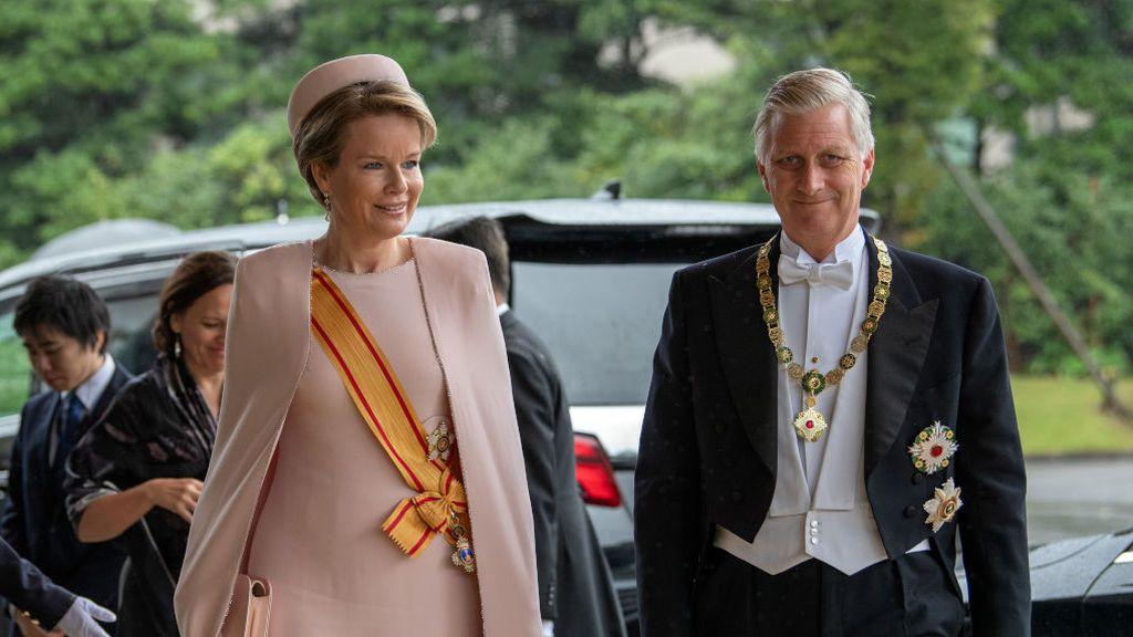 Matilde y Felipe, los reyes de Bélgica, a su llegada al palacio de Tokio