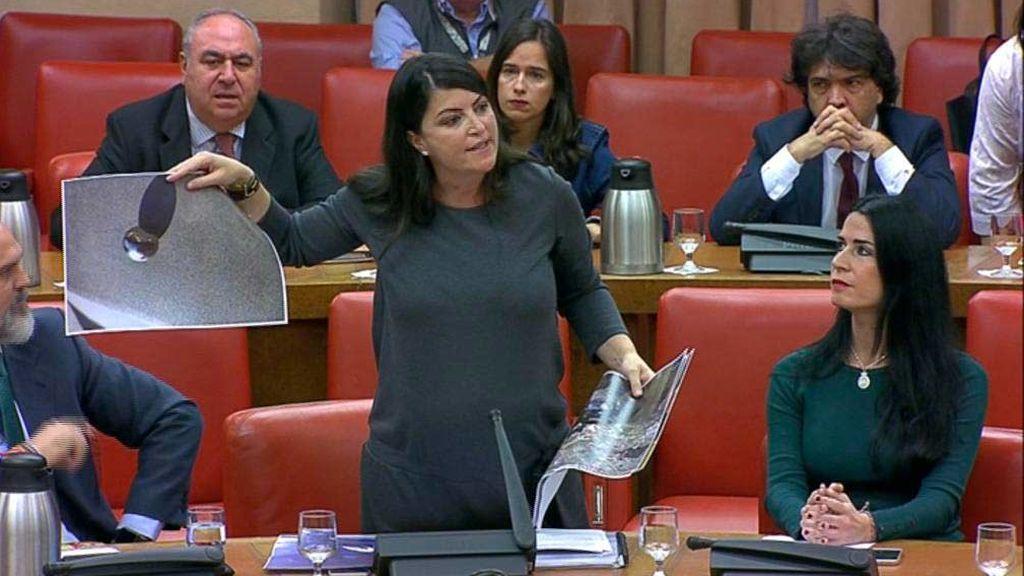 Macarena Olona enseña una foto en el Congreso