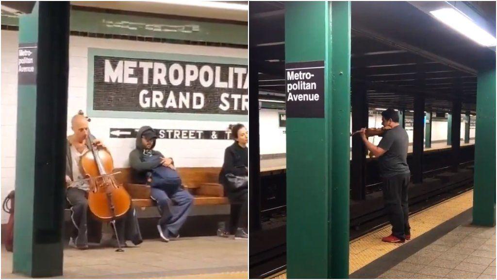 Conciertazo viral: dos artistas callejeros improvisan un concierto en el metro y lo petan en redes