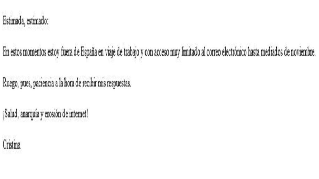 El mail de respuesta automática de Cristina Morales