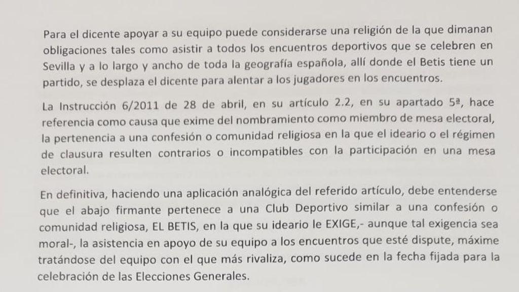 Un bético pide que le liberen de una mesa electoral el 10-N para ir al derbi contra el Sevilla