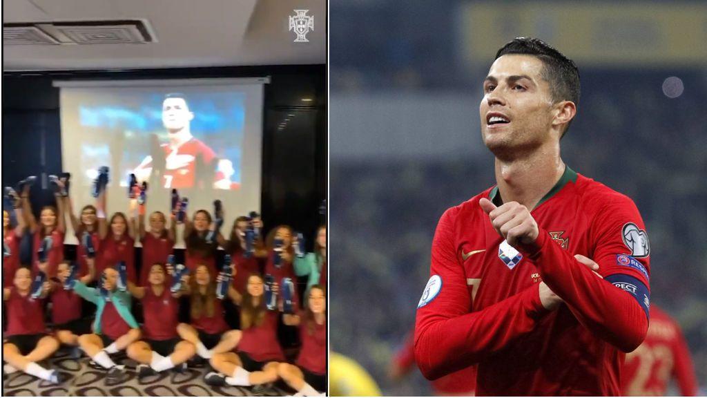 """El detalle de Cristiano Ronaldo con el equipo femenino Sub-17 de Portugal tras clasificarse para la Euro2020: """"Obrigado"""""""