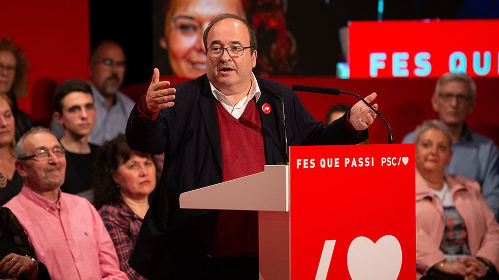 El líder del PSC, Miquel Iceta durante un mitin