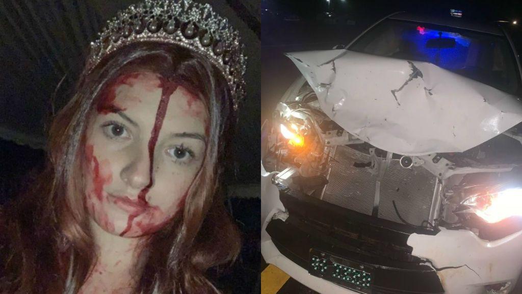 Sufre un accidente cuando va disfrazada de Halloween con sangre falsa y piensan que está muerta