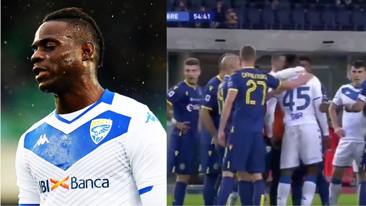 Balotelli estalla contra los insultos racistas: le pega un balonazo a la grada, para después intentar abandonar el partido
