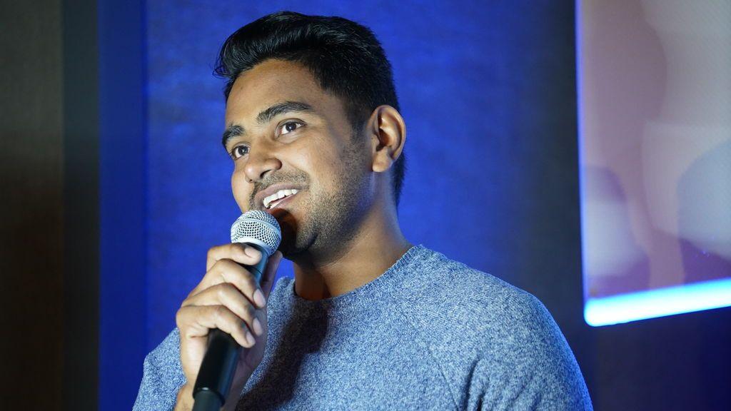 Salman Hassan, en una asamblea de M+J