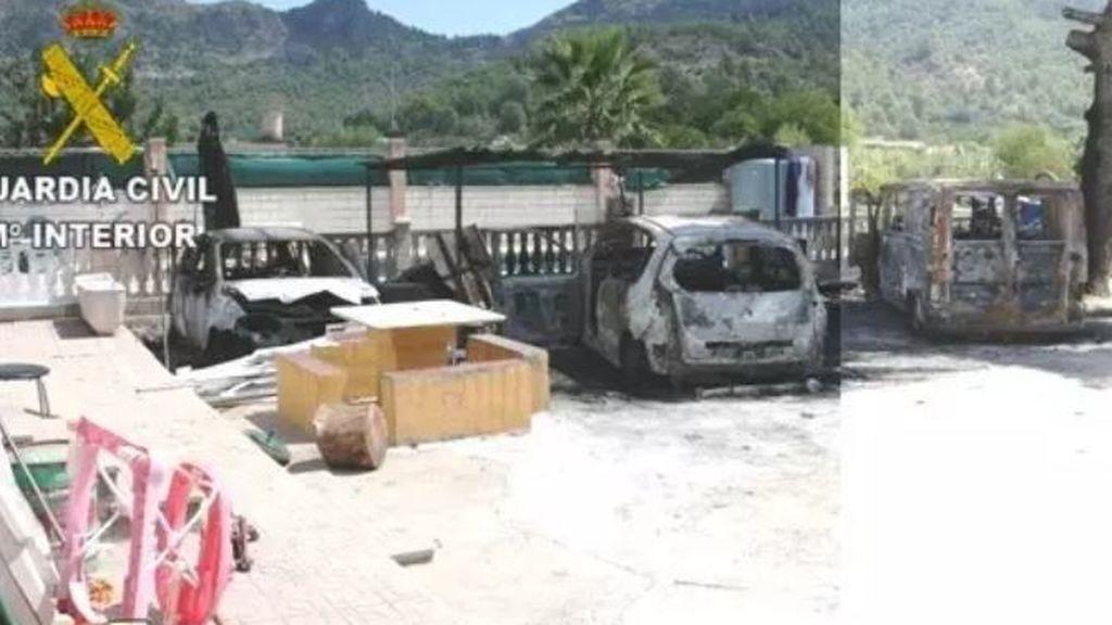 Detenido por quemar la casa de su expareja, tres coches, una moto y dos perros en Gandía