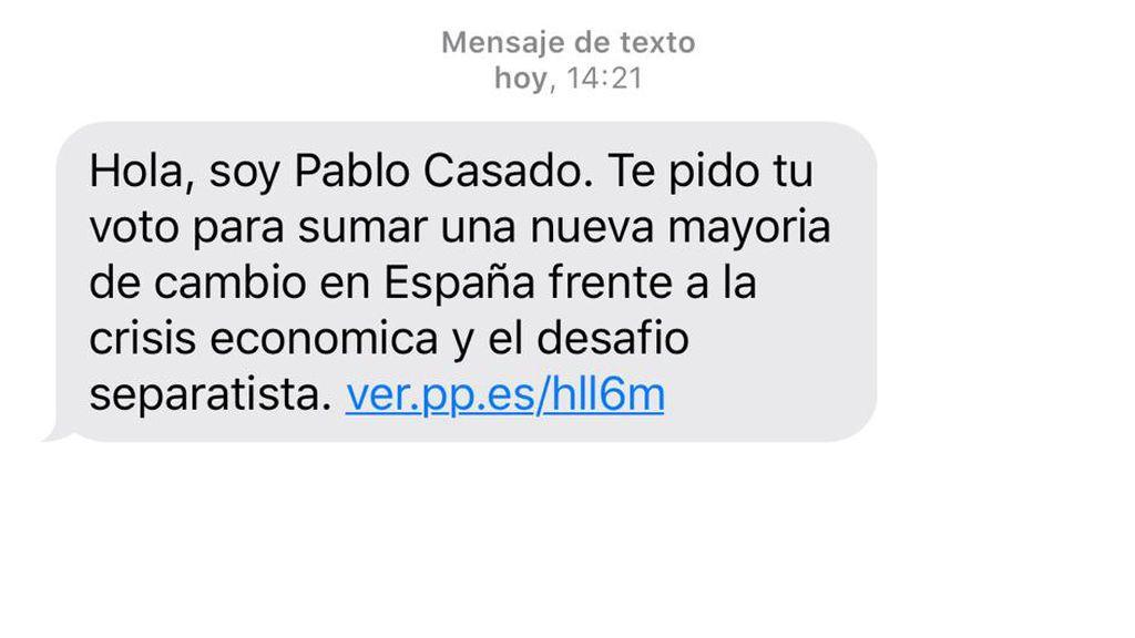 El PP envía dos millones de SMS  a teléfonos privados pidiendo el voto para Pablo Casado
