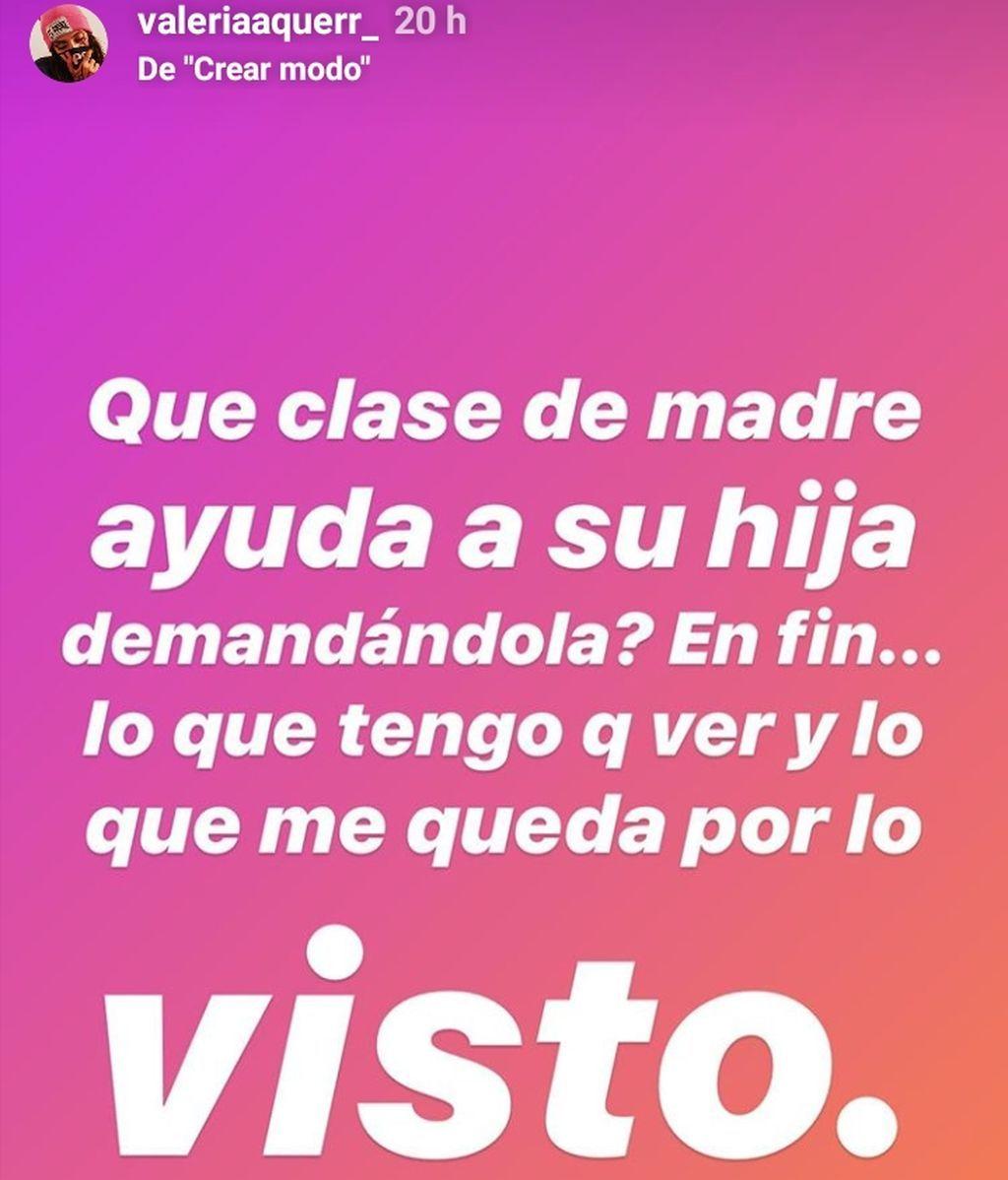 Valeria Quer acusa a su madre de querer vivir del cuento