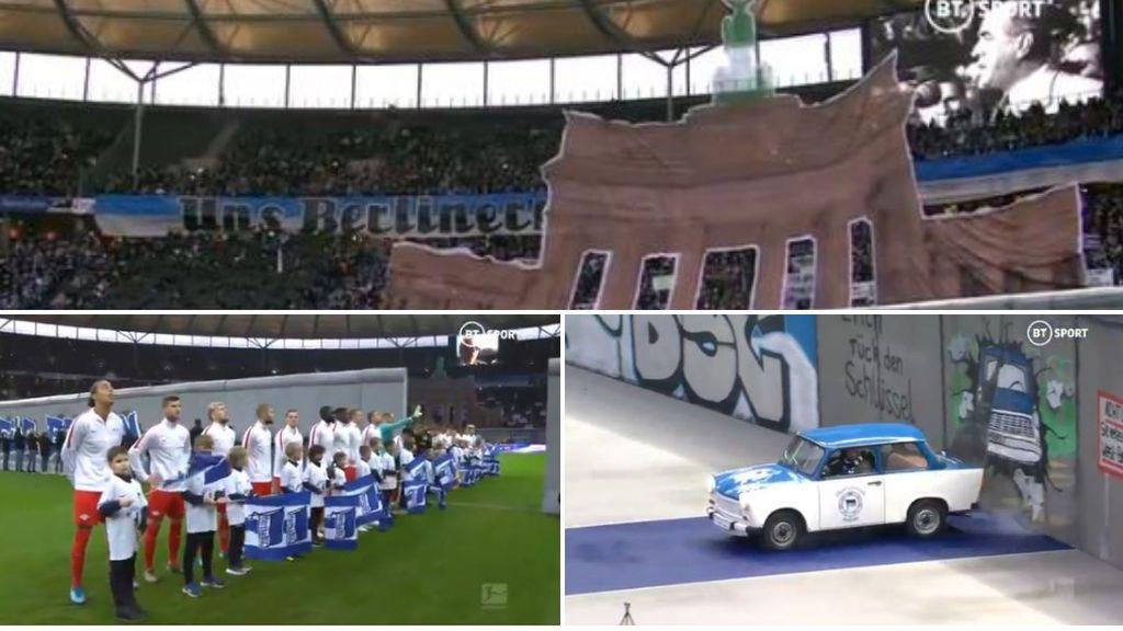 El Hertha homenajea la caída del Muro de Berlín con un tifo y una representación gigante