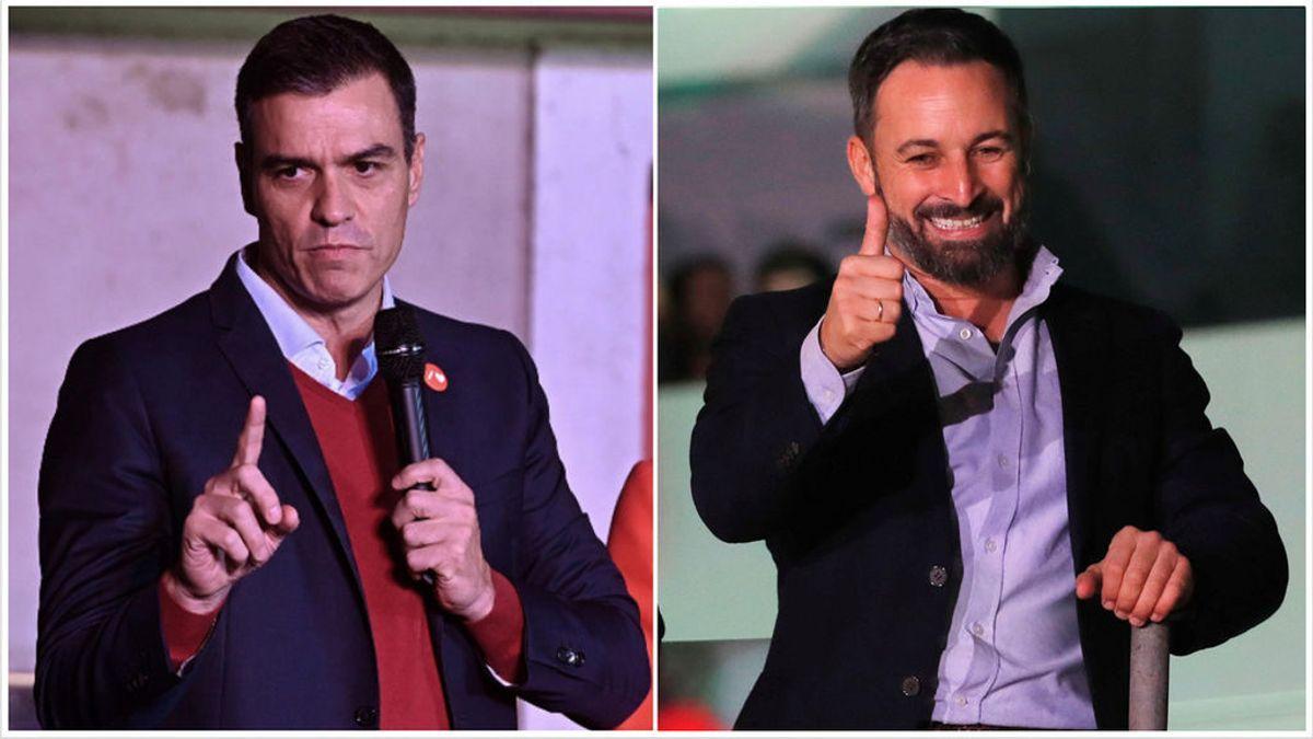 Pedro Sánchez y Santiago Abascal, las dos caras de la victoria