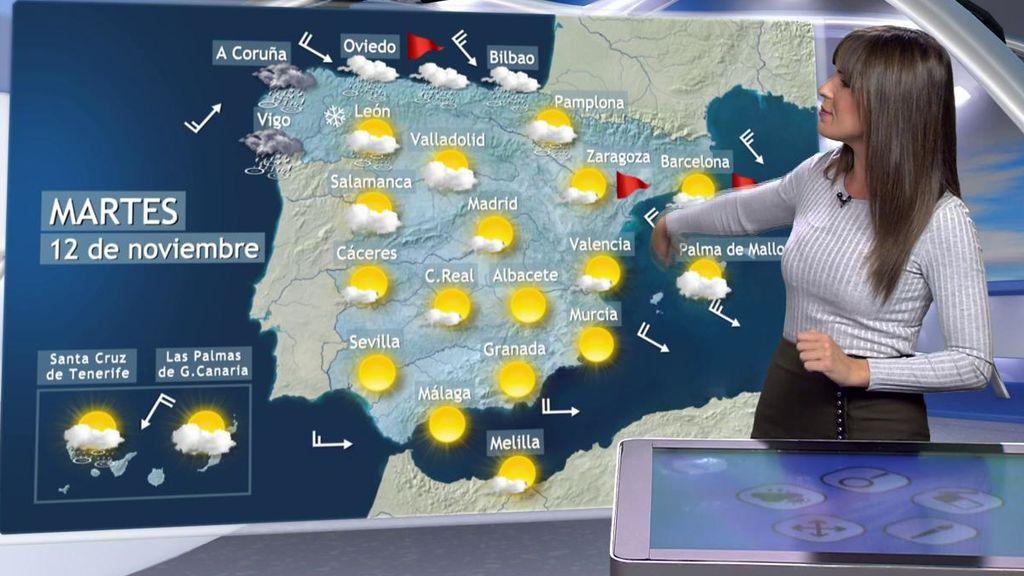 Predicción del tiempo prevista para el martes