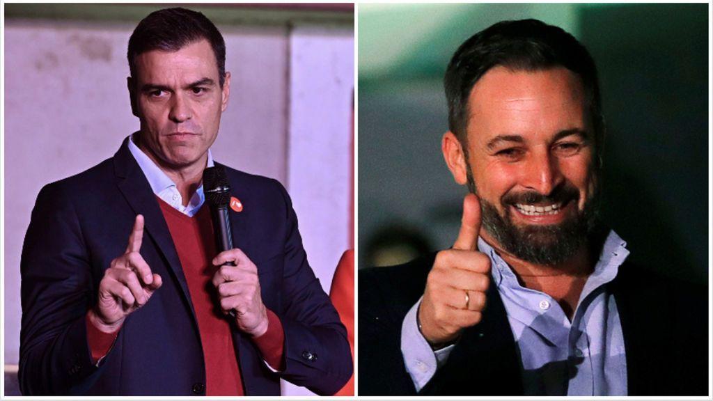 Las dos caras de la victoria: Sánchez, que resiste y se proclama ganador de las elecciones otra vez, y Santiago Abascal, líder de VOX