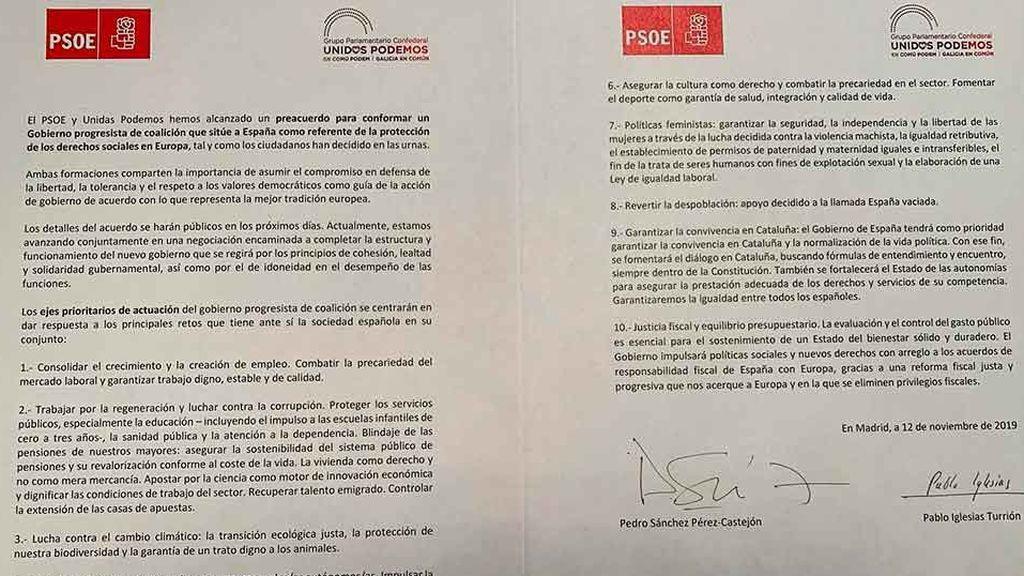 Imagen del acuerdo suscrito por el PSOE y Unidas Podemos